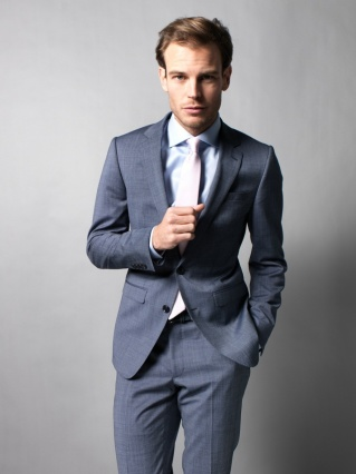 Trouwpak for Blue suit grey shirt