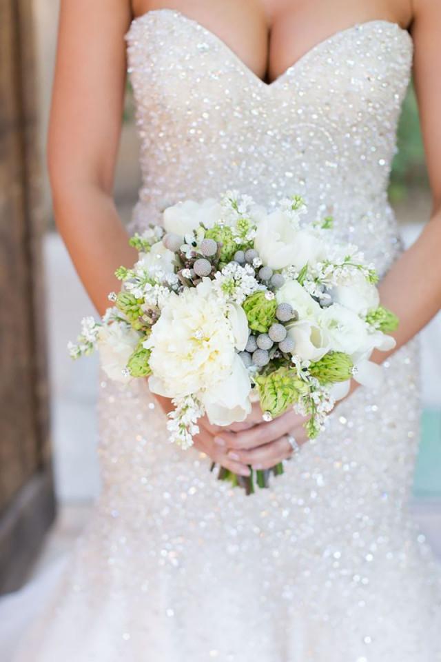 Witte glitter trouwjurk